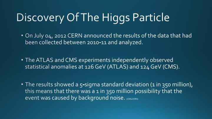 Discovery Of The Higgs Particle
