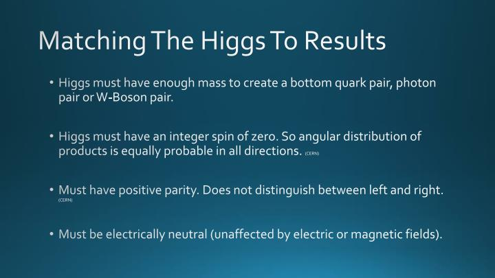 Matching The Higgs To Results