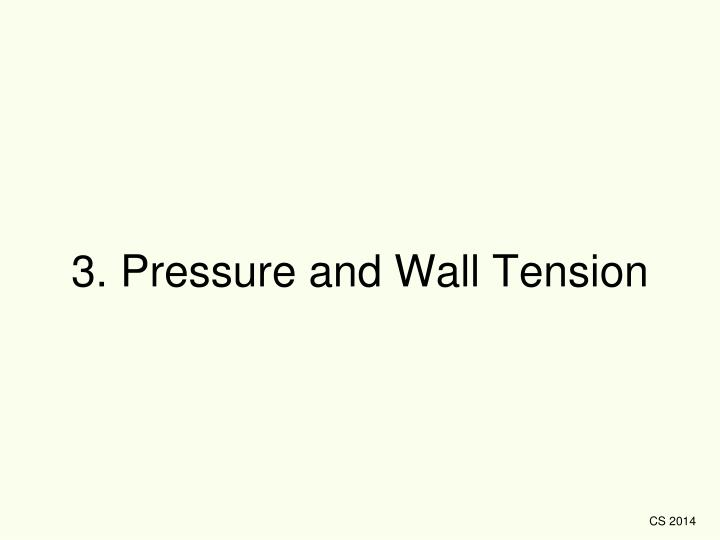 3. Pressure and Wall Tension