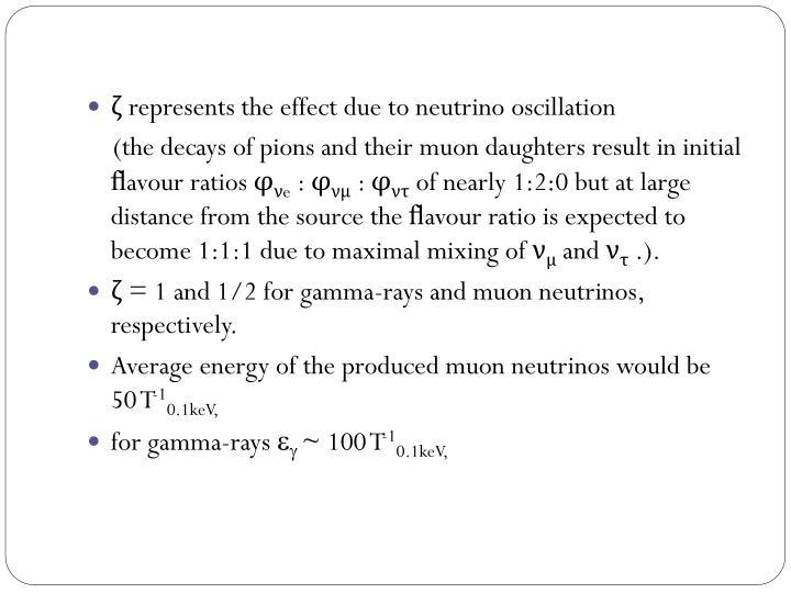 ζ represents the effect due to neutrino oscillation