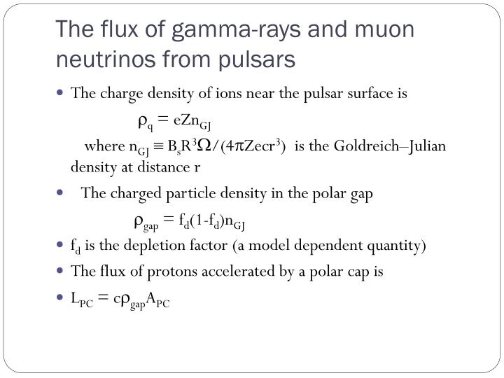 The flux of gamma-rays and