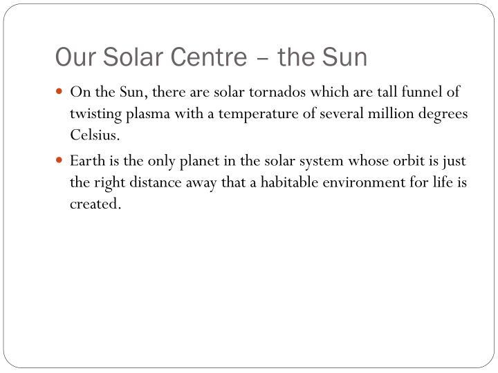 Our Solar Centre – the Sun