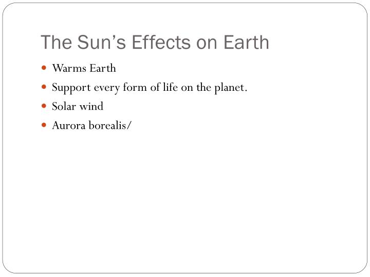 The Sun's Effects on Earth