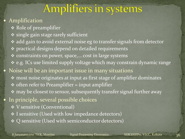 Amplifiers in systems