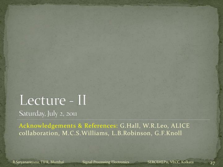 Lecture - II