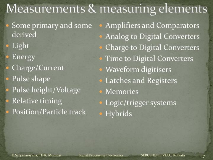 Measurements & measuring elements