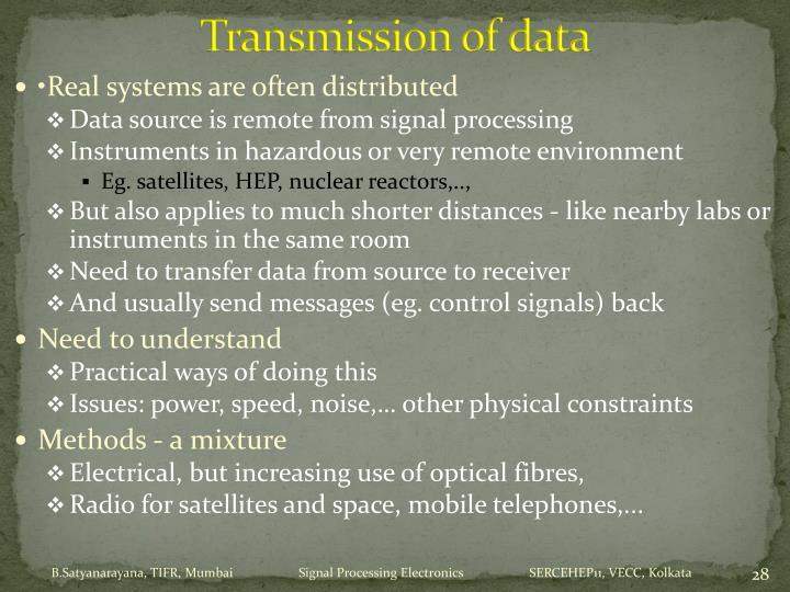 Transmission of data