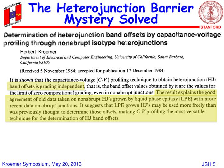 The Heterojunction Barrier Mystery Solved