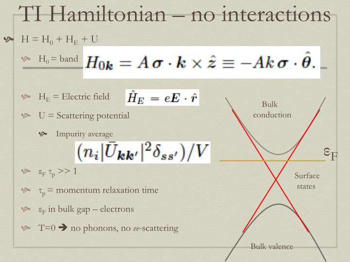 TI Hamiltonian – no interactions