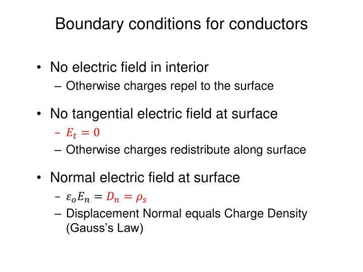 Boundary conditions for conductors