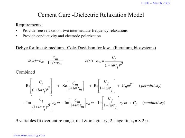 Cement Cure -Dielectric Relaxation Model