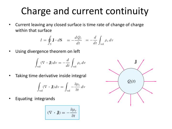 Charge and current continuity
