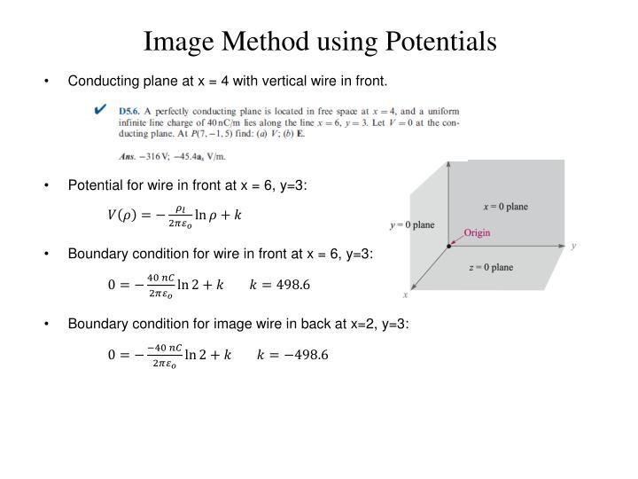 Image Method using Potentials
