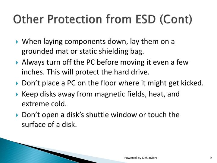 Other Protection from ESD (Cont)
