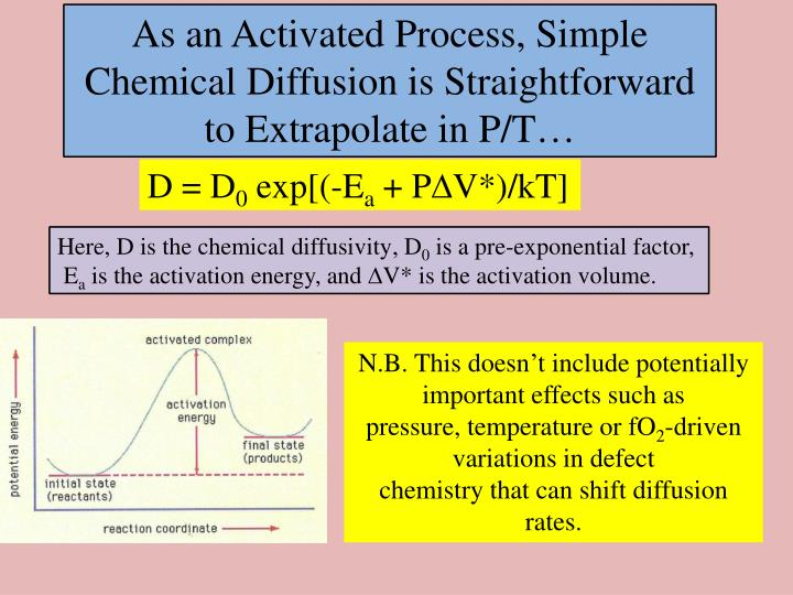 As an Activated Process, Simple Chemical Diffusion is Straightforward to Extrapolate in P/T…