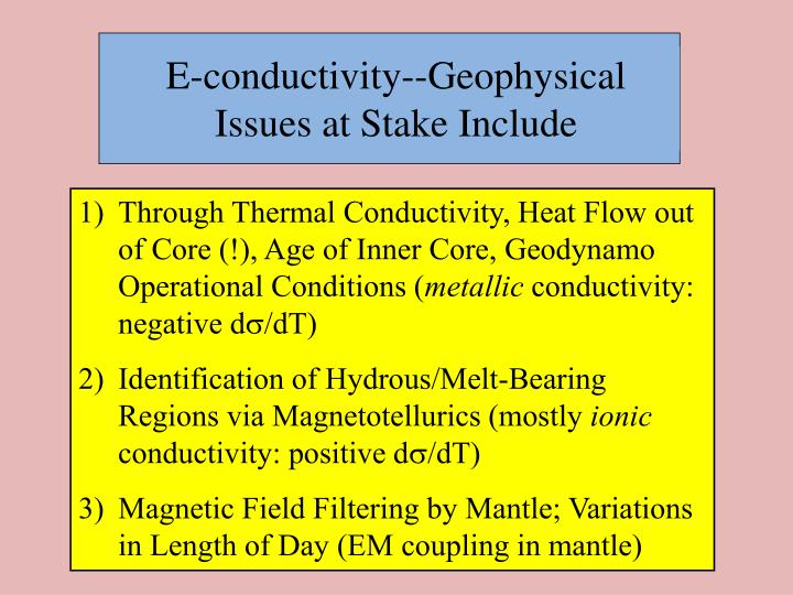E-conductivity--Geophysical Issues at Stake Include