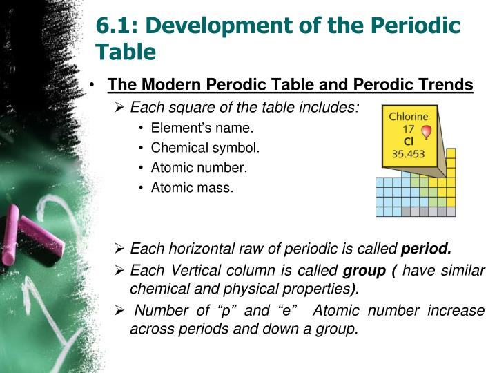 6 1 development of the periodic table