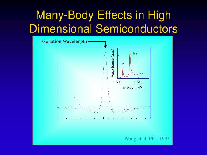 Many-Body Effects in High Dimensional Semiconductors