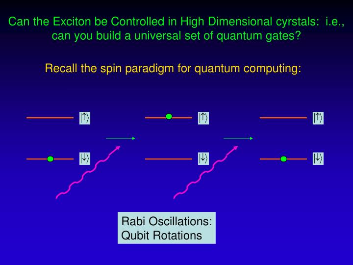 Recall the spin paradigm for quantum computing: