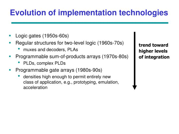 Evolution of implementation technologies