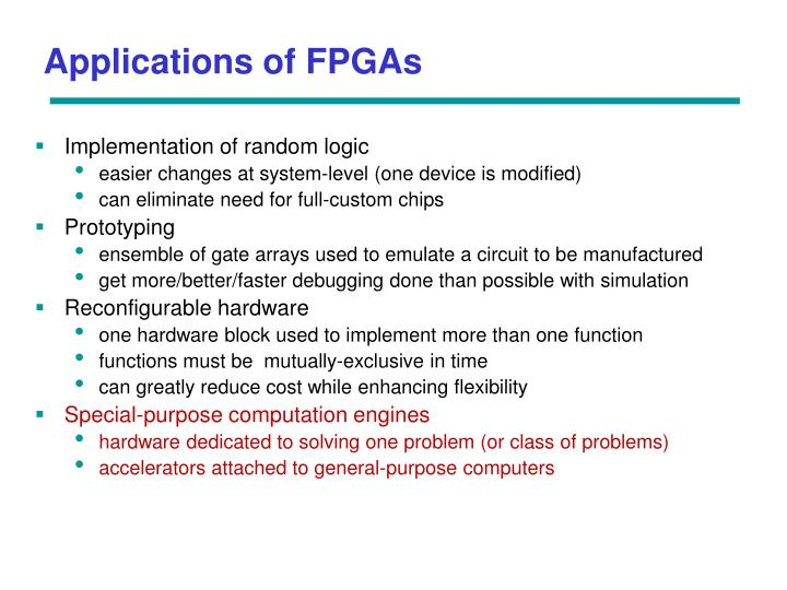 Applications of FPGAs