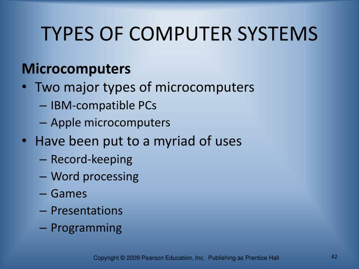 TYPES OF COMPUTER SYSTEMS
