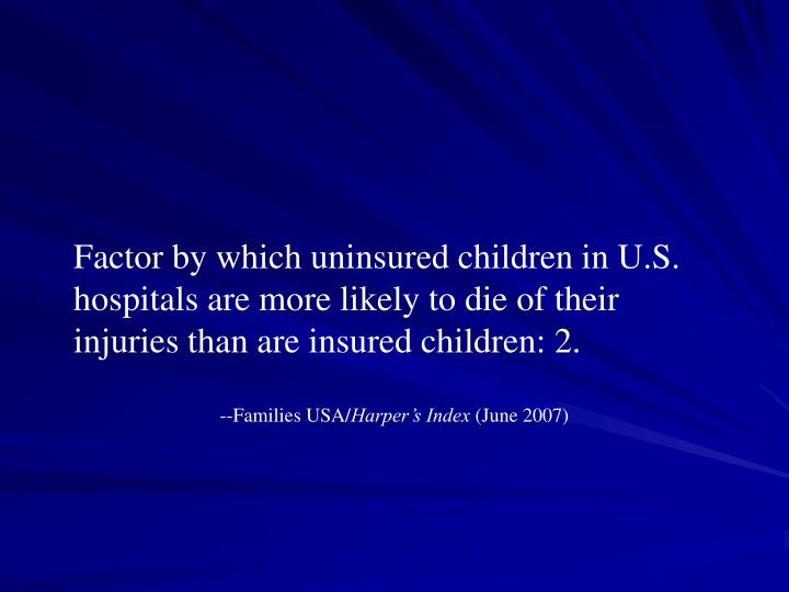 Factor by which uninsured children in U.S. hospitals are more likely to die of their injuries than are insured children: 2.