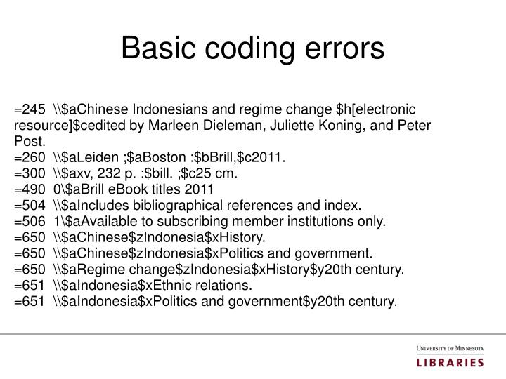 Basic coding errors