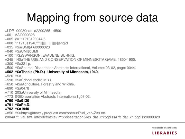 Mapping from source data