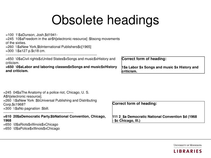 Obsolete headings