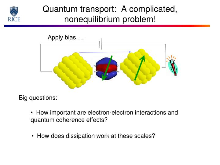 Quantum transport:  A complicated,