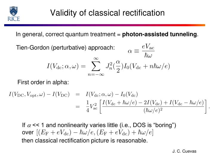 Validity of classical rectification