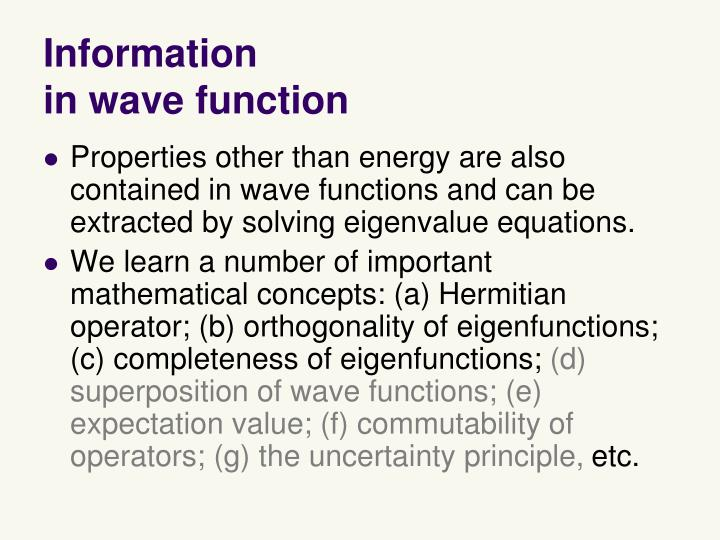 Information in wave function