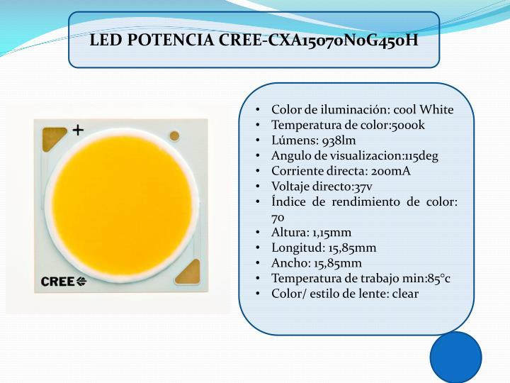 LED POTENCIA CREE-CXA15070N0G450H