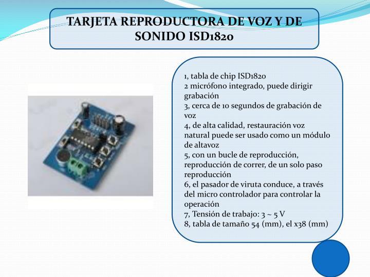 TARJETA REPRODUCTORA DE VOZ Y DE SONIDO ISD1820