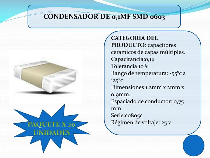 CONDENSADOR DE 0,1µF SMD 0603