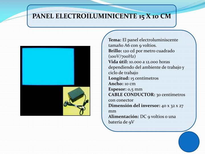 PANEL ELECTROILUMINICENTE 15 X 10 cm