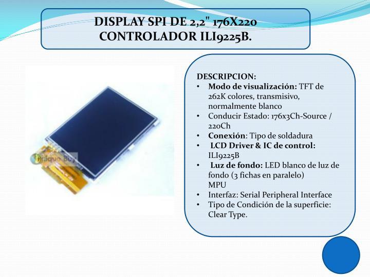 """DISPLAY SPI DE 2,2"""" 176X220 CONTROLADOR"""