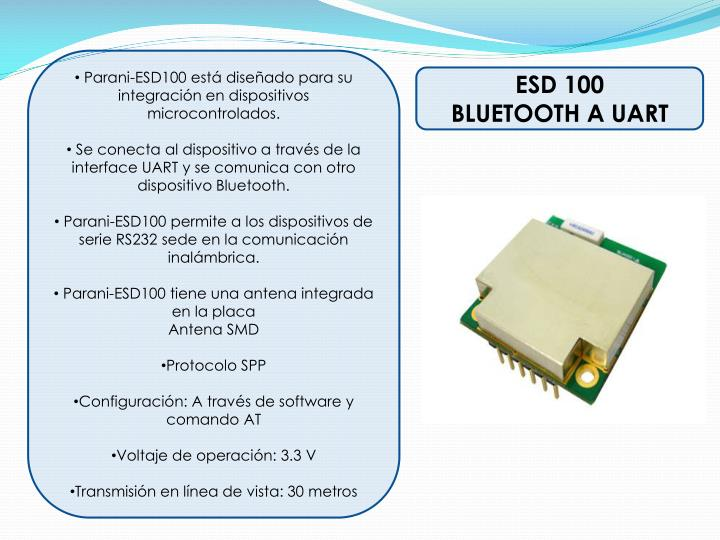 Parani-ESD100 está diseñado para su integración en dispositivos
