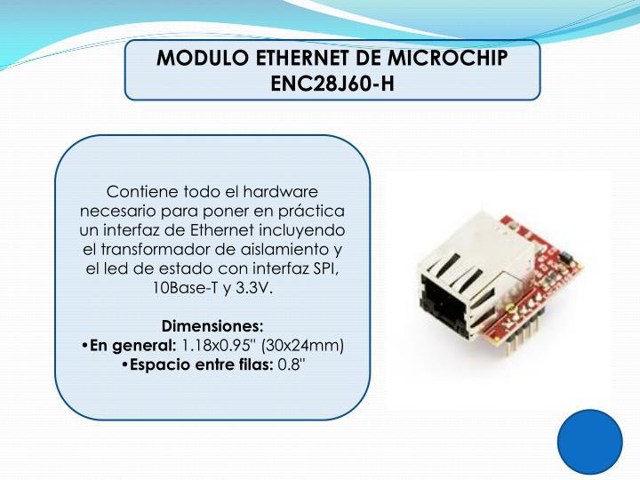 MODULO ETHERNET DE MICROCHIP ENC28J60-H
