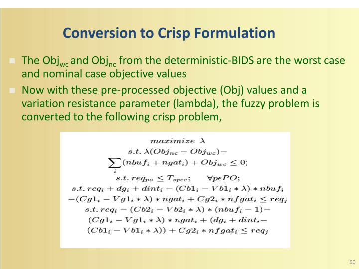 Conversion to Crisp Formulation
