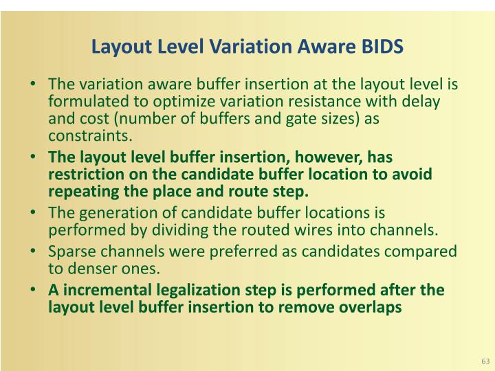 Layout Level Variation Aware BIDS