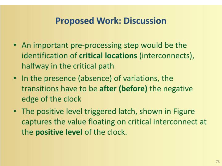 Proposed Work: Discussion