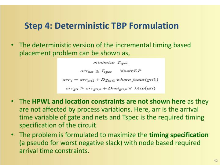 Step 4: Deterministic TBP Formulation