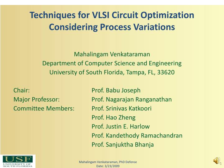 Techniques for vlsi circuit optimization considering process variations