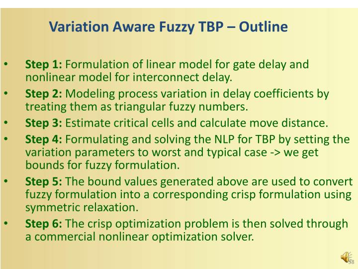 Variation Aware Fuzzy TBP – Outline