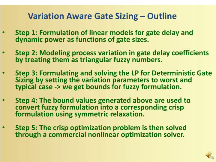 Variation Aware Gate Sizing – Outline
