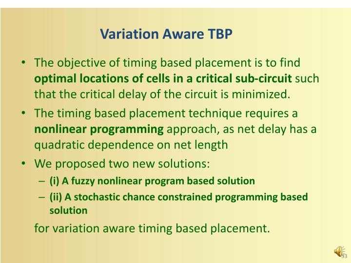Variation Aware TBP