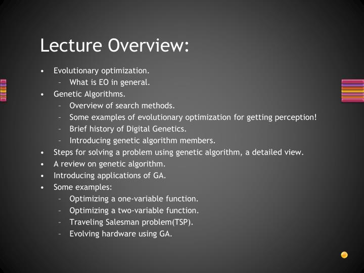 Lecture Overview: