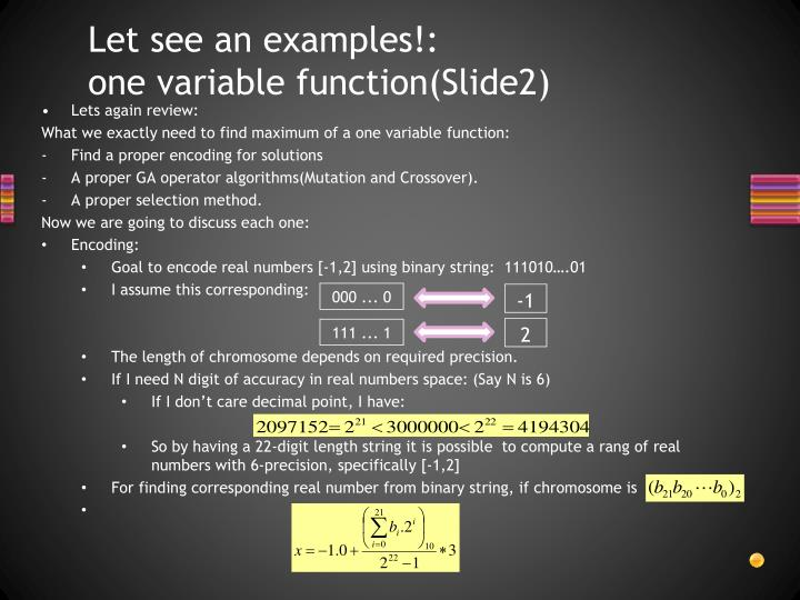 Let see an examples!:      one variable function(Slide2)